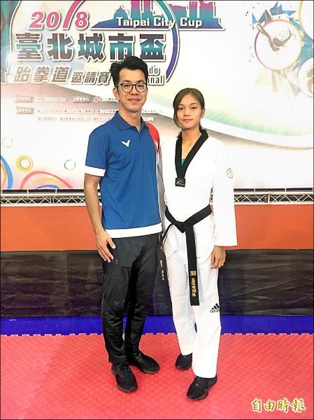 跆拳道國家隊總教練蘇泰源(左)和蘇柏亞擔任本屆城市盃代言人。(記者廖聿偉攝)