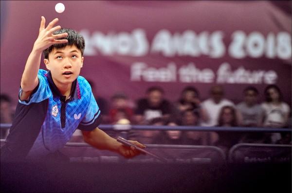 台灣桌球神童林昀儒在青奧表現亮眼。(美聯社)