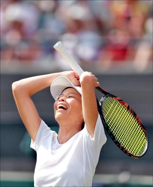 台灣女將謝淑薇今年溫網扳倒球后哈勒普,榮登官網年度最佳大滿貫賽事第4名。(資料照,歐新社)