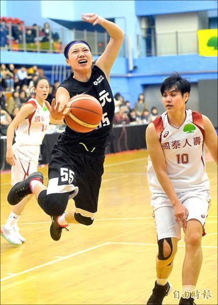 台元彭曉彤(中)飆進4顆三分球,砍下全場最高22分 。(記者林正堃攝)