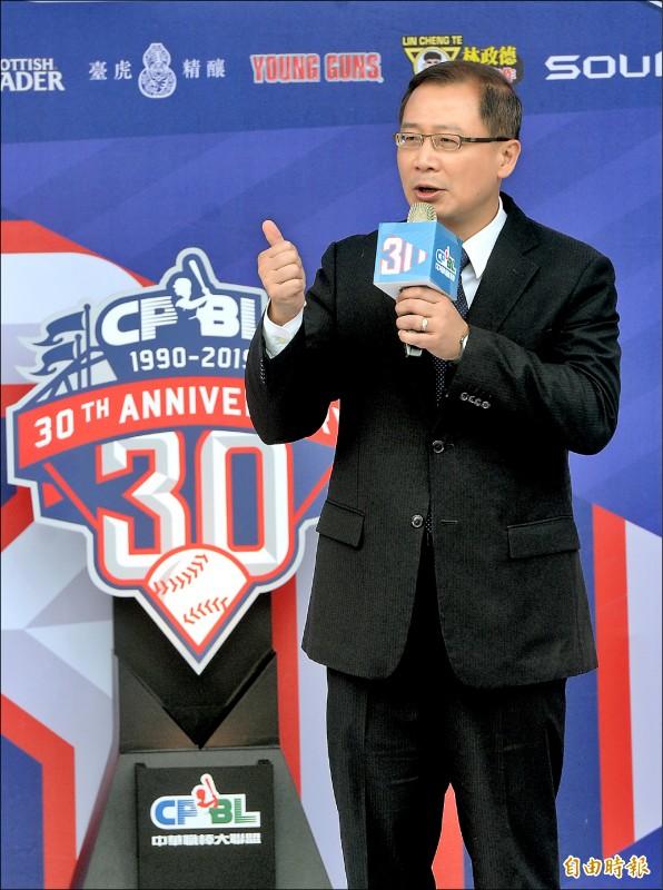 吳志揚表示,中職明星賽將和12強賽台灣隊交手。 (記者林正堃攝)
