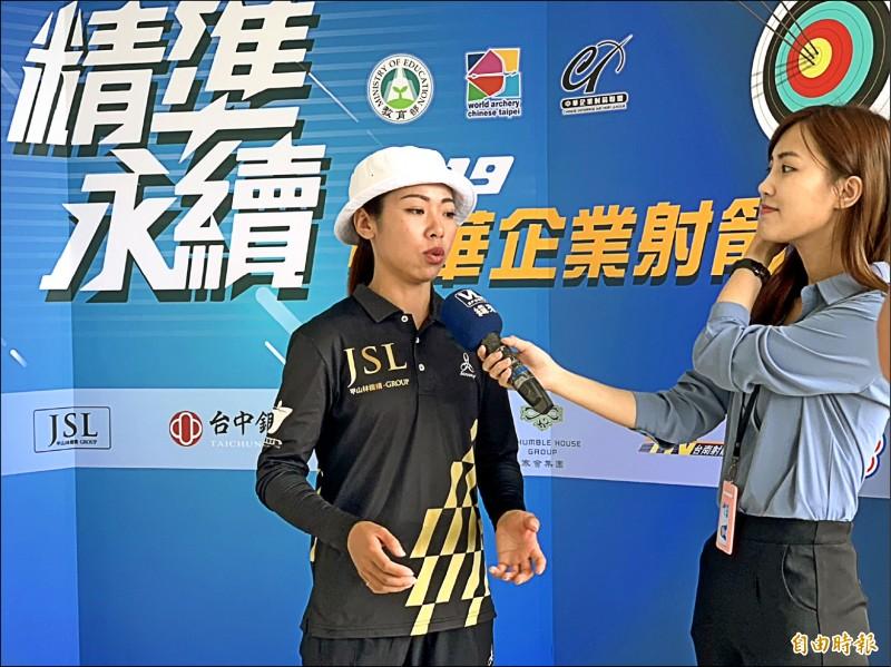 台灣射箭女將譚雅婷(左,記者吳孟儒攝)