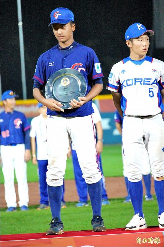 台灣隊投手余謙本屆U18總計投10局無失分,戰績1勝2救援,奪MVP實至名歸。 (特派記者羅志朋攝)