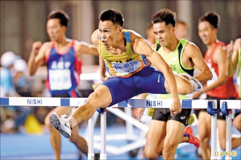 陳奎儒男子110公尺跨欄以0.04秒之差,再次與東京奧運門票失之交臂。(記者羅沛德攝)