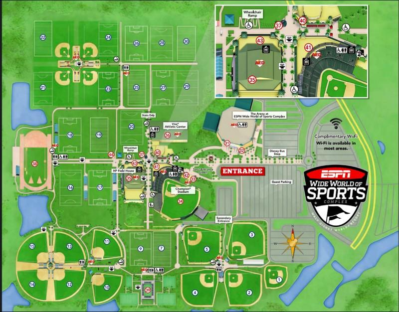 ESPN複合式體育中心園區占地廣大,擁有籃球、足球、田徑和棒壘球等場館。(取自迪士尼複合式體育中心官網)