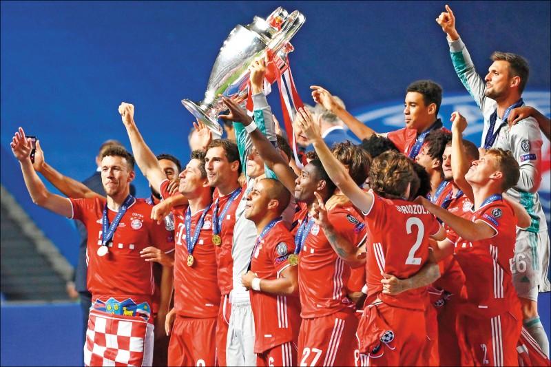 德甲拜仁慕尼黑擊敗法甲巴黎聖日耳曼,拿下隊史第6座歐冠盃冠軍。(法新社)