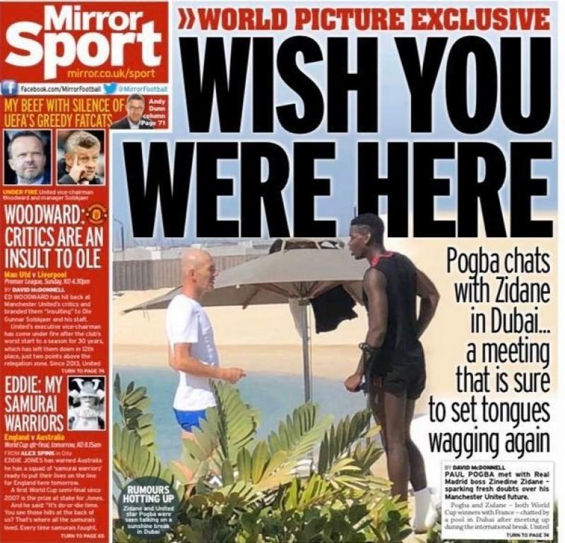 足球》與博格巴在泳池旁寒暄 席丹:只是巧遇