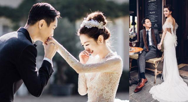 楊千霈法國街頭甜吻老公!夢幻婚紗行頭不輸紅毯狂換5套訂製服