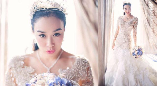 46歲鍾麗緹挺孕肚再披絕美白紗!「人魚夫婦」超夢幻海洋風婚禮現場直擊