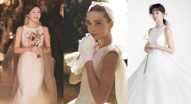 奧黛麗赫本風婚紗爆紅!極簡優雅造型就算沒有蕾絲一樣美翻天