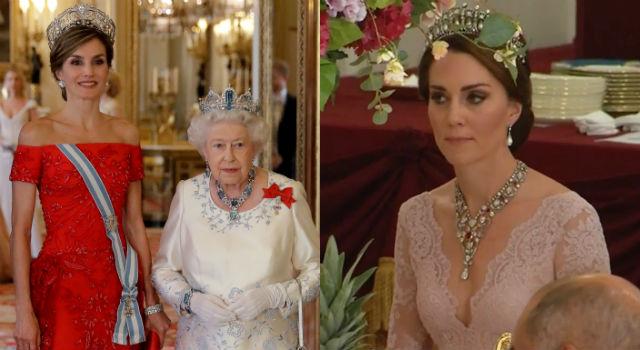 45歲西班牙王后絕美訪英成焦點!凱特王妃深V女神裝悄悄搶鏡