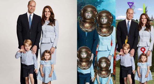 威廉、凱特一家溫馨耶誕卡竟被KUSO?P圖高手大膽換背景,網友:太好笑了!