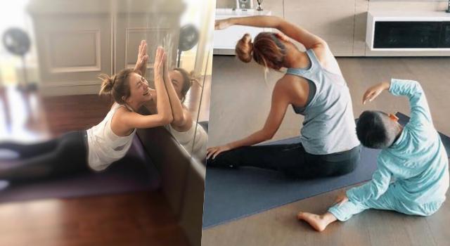 應采兒帶小小春做瑜伽好萌!大推「史上最療癒姿勢」腰痠背痛都消失了!