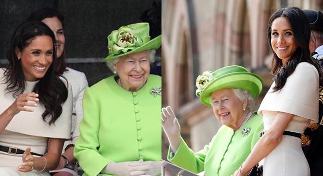 新王妃梅根首次與女王單獨亮相!穿貼身洋裝顯瘦「這部位」意外搶鏡!