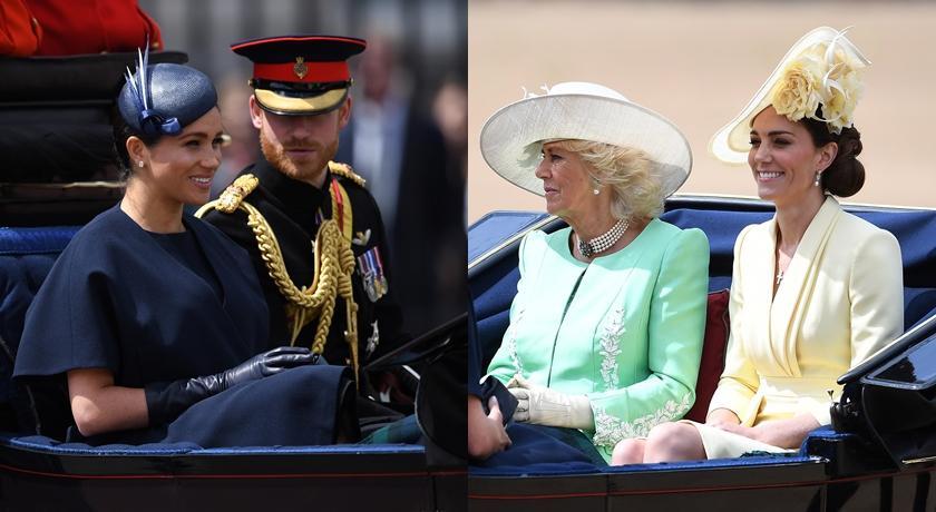 梅根王妃產後首露面!穿「典雅藍」同框對決凱特「檸檬黃」,焦點卻都是他!
