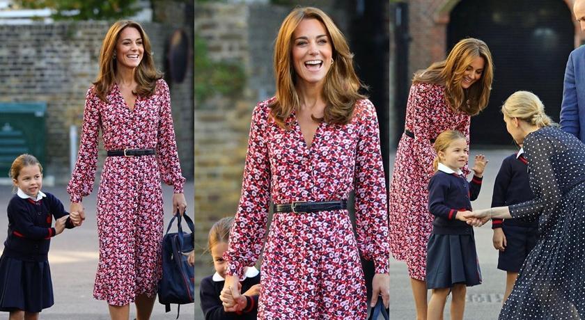 送夏綠蒂、喬治上學去!凱特王妃露面的顯瘦印花洋裝原來還是舊衣