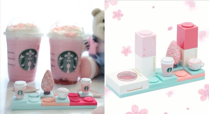 韓國星巴克推唇膏!「櫻花色」搭配櫻花杯,還能疊起變積木太有趣