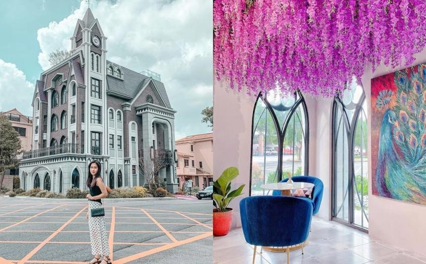 「歐式古堡咖啡廳」被封桃園龍潭最美!紫藤花瀑+古典玻璃窗必拍