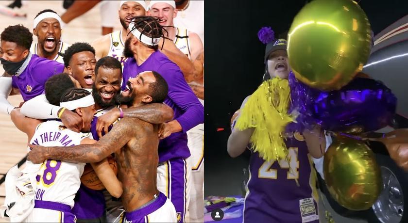 不計形象!蕾哈娜慶祝湖人奪 NBA 總冠軍「狂嗨高歌」全被拍