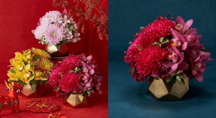 絕美春節花禮添年味!「鮮豔三色菊+金色花器」牛年旺來招福氣