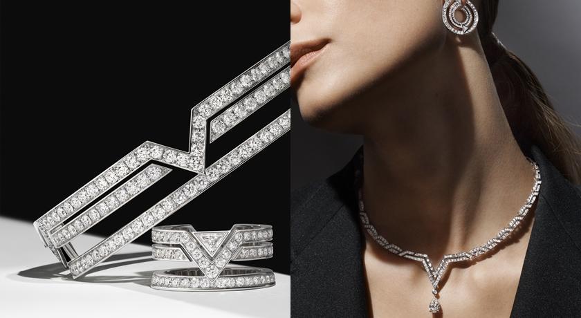 LV 的「V」變成首飾沒想到這麼美!仔細看尾端還掛一顆鑽石