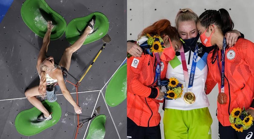 斯洛維尼亞「攀岩女神」東奧奪冠!這張照片伴隨彩虹美到像拍海報