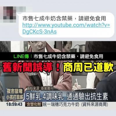 Mygopen》【假LINE】市售七成牛奶含禁藥新聞?2013錯誤新聞商周道歉