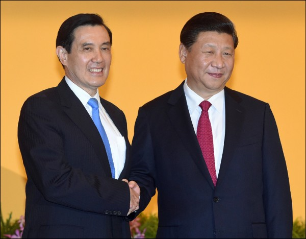 馬英九日前出席新同盟會活動時披露,二○一五他當面告訴習近平,「一中各表」絕對不會表到「兩個中國」、「一中一台」或「台灣獨立」,因為這是中華民國憲法所不容許的。(資料照)