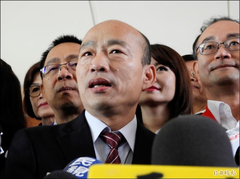高雄市長韓國瑜的中國行充滿爭議,包括直接進入被視為港澳地下政府的中聯辦,引發台灣社會一陣譁然。(記者葛祐豪攝)